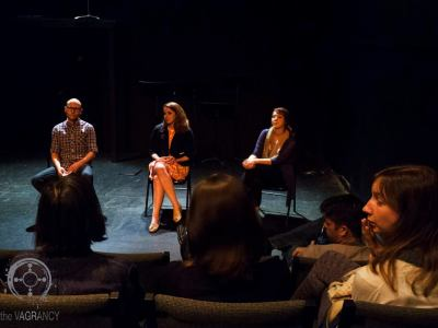 Post-show discussion with Callan Stout and Katie Witkowski. Photo credit: Andie Bottrell.
